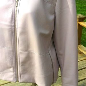 CHICO'S Pink Soft Leather Jacket Sz. 3P